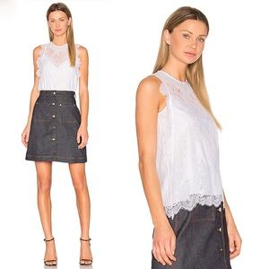 Carven White Lace Sleeveless Top 40 US 8